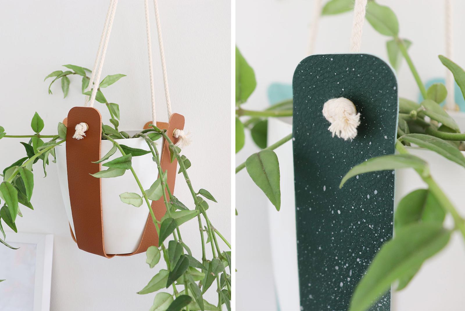 Suspensions pour plantes en cuir